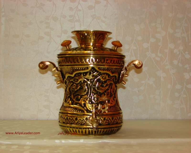 brass kettle with samovar ghalamzani plan with plan of flowers and bushes