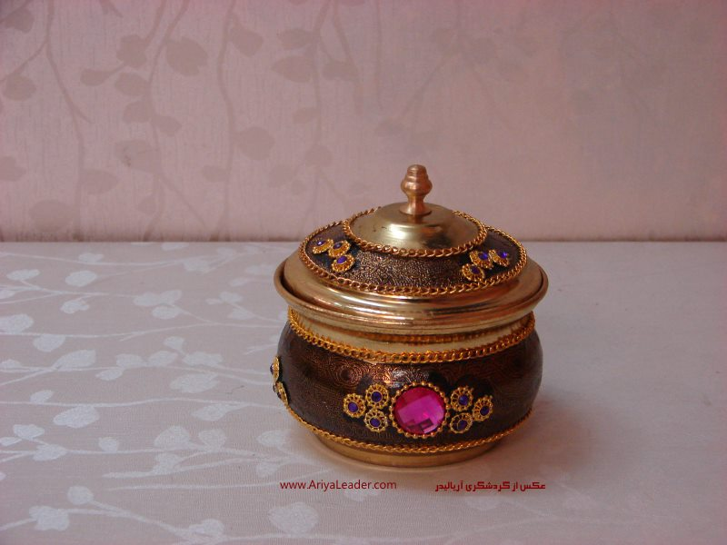 online shopping Sugar Bowl brass Jeweled at the best price