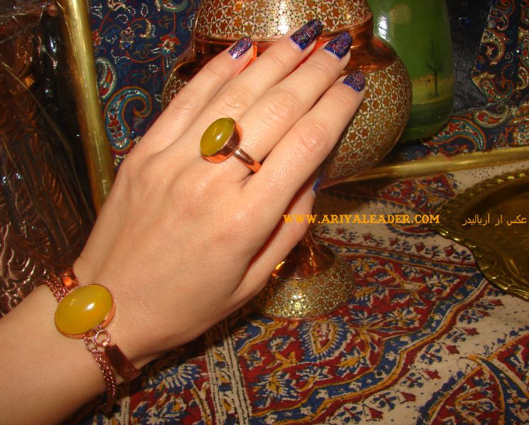 Set of bracelets and rings copper with pomegranate