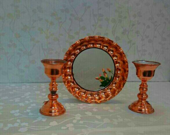Copper Mirrors and Candlesticks